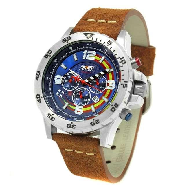 Reloj Aviador Patrulla Ascua AV-1029-GR azul correa marrón vintage de piel reloj de piloto