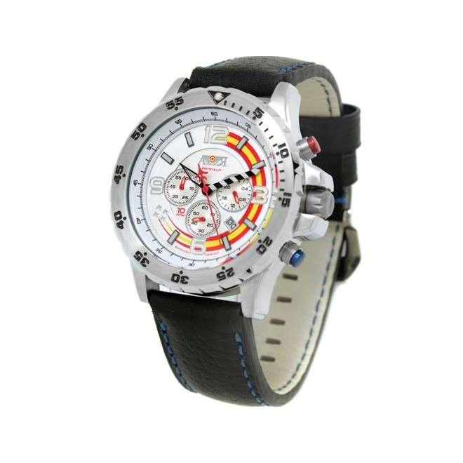 Reloj Aviador Patrulla Ascua AV-1038-WP color metal correa piel negro reloj de piloto