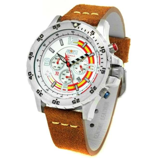 Reloj Aviador Patrulla Ascua AV-1038-GR plata correa marrón vintage piel reloj de piloto