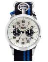 Reloj Aviador Air Racer AV-1101 con esfera silver y correa de nylon  negra y azul reloj de piloto avión de acrobacias