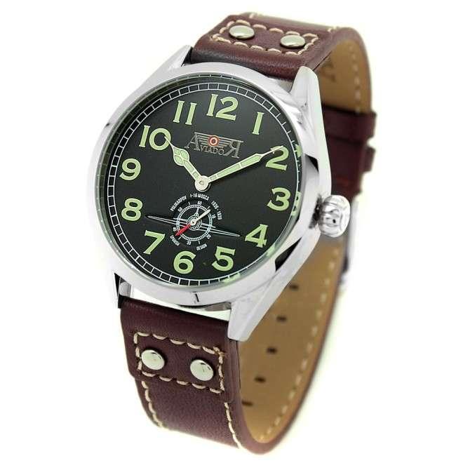 Reloj Aviador Mosca AV-1023 negro mate correa de piel marrón reloj de piloto de avión histórico