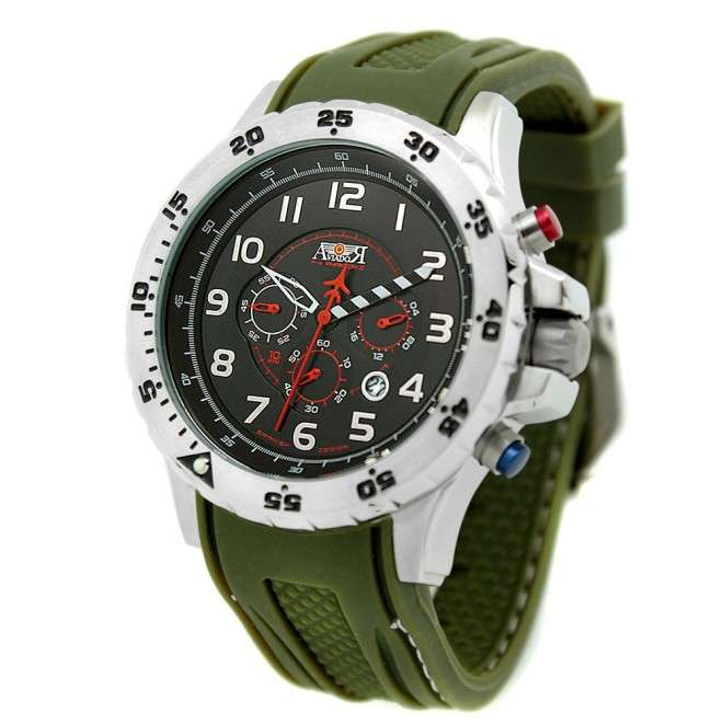 Reloj Aviador F-4 PHANTOM II AV-1028 negro correa caucho verde reloj de piloto de avión histórico