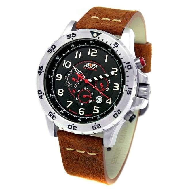 Reloj Aviador F-4 PHANTOM II AV-1028-GR negro correa piel marrón vintage reloj de piloto de avión histórico
