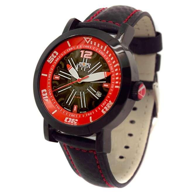 Reloj Aviador Engine AV-1010 rojo correa piel negra reloj de piloto motor de avión