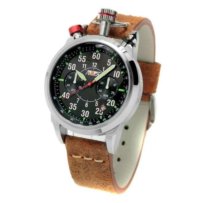 Reloj Aviador Air Racer AV-1100 esfera negra y correa en piel grunge marrón reloj de piloto