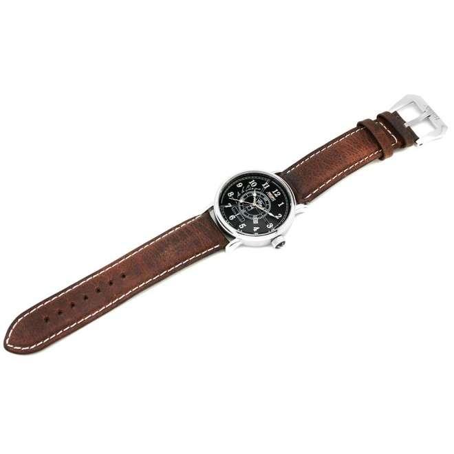 Reloj Aviador Autogiro de la Cierva AV-1068-1 negro envejecido correa piel vintage marrón reloj de piloto de avión histórico
