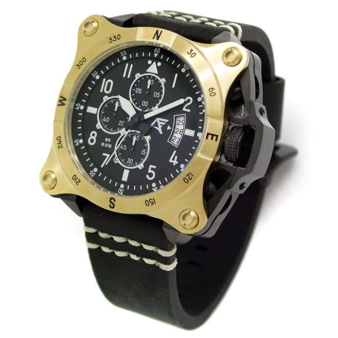 Reloj AVIADOR Instruments AV-1197-PNE Gold, caja de acero 52 mm, correa en cuero, calendario, cristal mineral, WR 10 ATM.