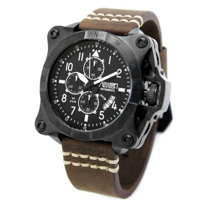 Reloj AVIADOR Instruments AV-1195-PME Black, caja de acero 52 mm, correa en cuero, calendario, cristal mineral, WR 10 ATM.
