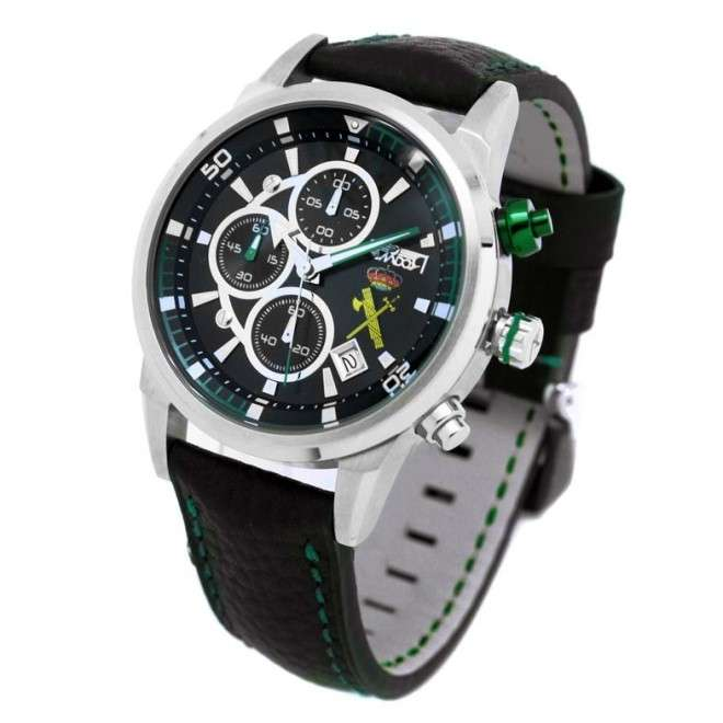 Reloj AVIADOR AV-1060-19-GC Ed. Especial Guardia Civil, caja acero 44 mm, correa negra piel waterproof, calendario, WR 10 ATM.