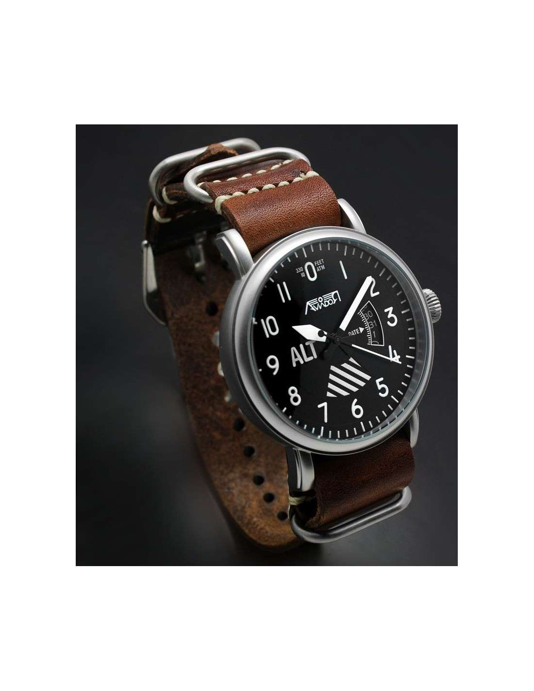 Reloj AVIADOR Altímetro AV-1201-NPM con Correa NATO Marrón en Piel 5d9ae79a141c