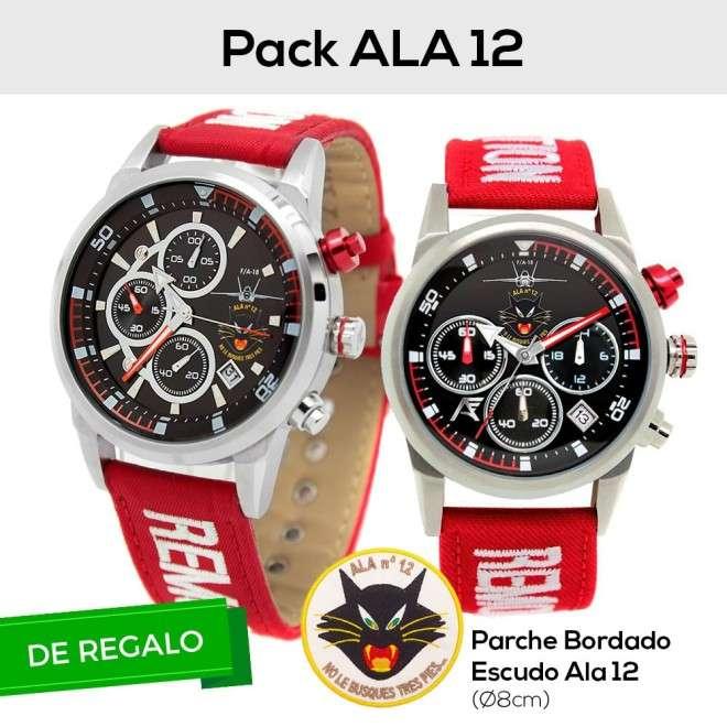Pack ALA 12. 2x Relojes AVIADOR RBF ALA 12 Hombre y Mujer + Parche con Escudo Bordado ALA 12