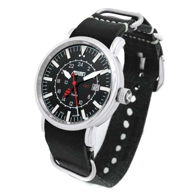Reloj de Piloto AVIADOR Stuka AV-1066-NPN Edición Especial. Dual Time GMT 24H
