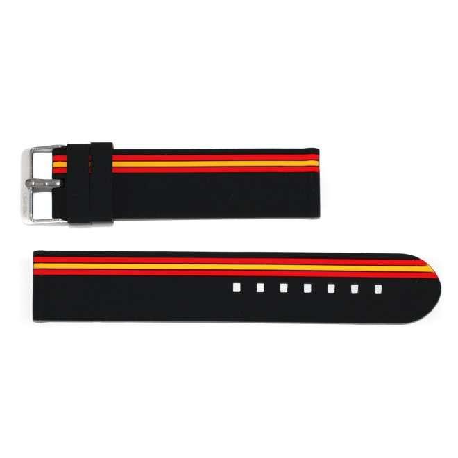Correa negra de silicona con bandera de España y hebilla acero 22mm