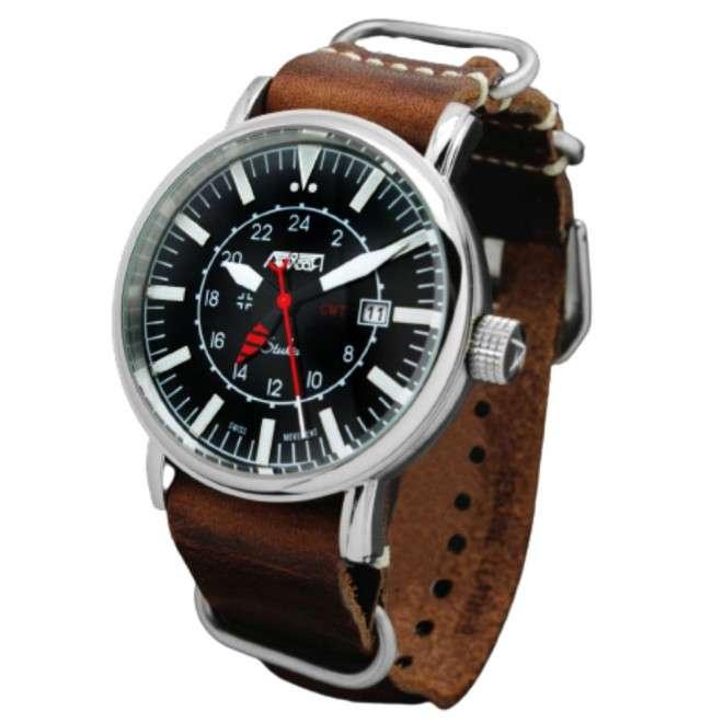 Reloj de Piloto AVIADOR Stuka AV-1066-NPM Edición Especial. Dual Time GMT 24H
