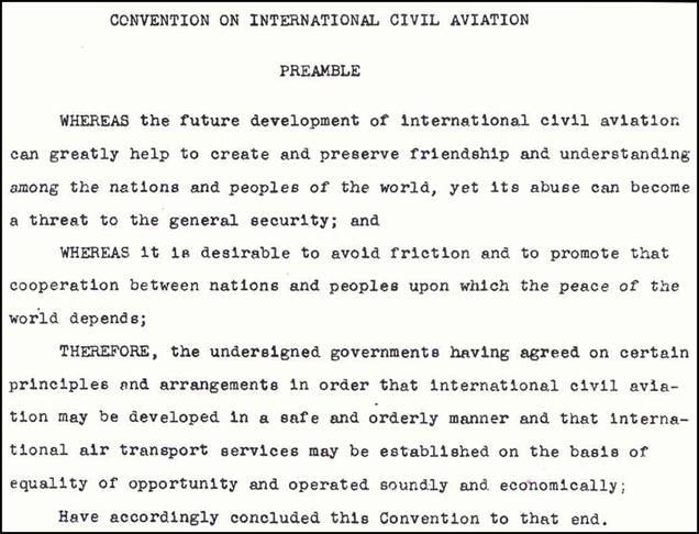Convenio Aviación Civil Internacional. Chicago 1944.