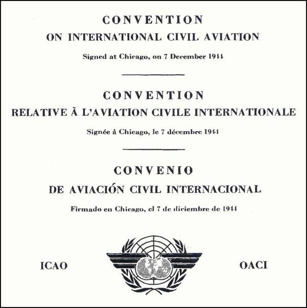 Cubierta Convenio Aviación Civil Internacional. Chicago 1944.