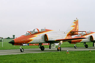 "Casa C-101 Aviojet of Patrulla Aguila Aerobatic Team taxiing at Radom Air Show 2005. Photo: Przemyslaw ""Blueshade"" Idzkiewicz. August 28th, 2005. Released under cc-by-sa 2.5 license"