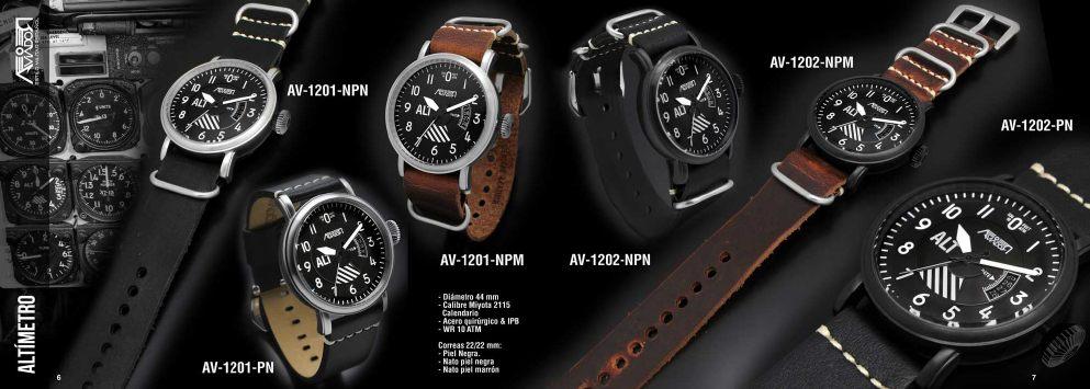 Reloj Aviador Altimetro AV-1201-NPN reloj de piloto