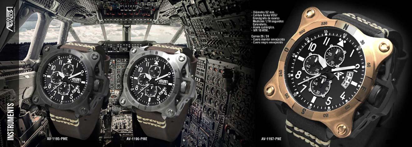 Colecció Instruments Relojes AVIADOR Watch. Inspirada en el Concorde. Caja de acero quirúrgico 52 mm, esfera negra, calendario, cristal mineral endurecido, correa en cuero envejecido, WR 10 ATM.