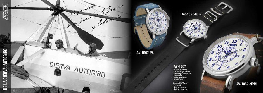 Nuevo Reloj Aviador Autogiro Juan de la Cierva AV-1067-NPN