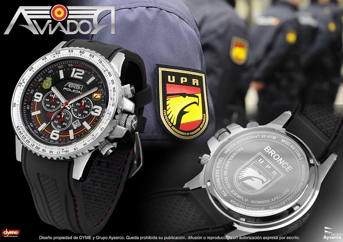 Reloj AVIADOR Homenaje a la Policía UPR AV-1106-3 Unidad de Prevención y Reacción